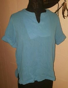 BocaBay Blue Tissue Crinkle Blouse